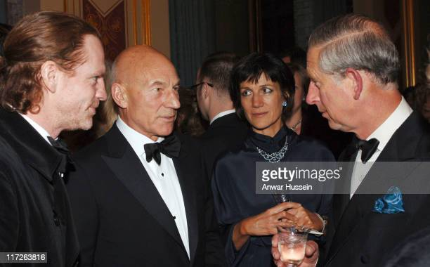 Prince Charles the Prince of Wales chats to actors Patrick Stewart and Harriet Walter