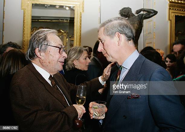 Prince Charles, The Prince of Wales chats to author and professor George Steiner at a reception to celebrate the Everyman's Library Centenary held in...