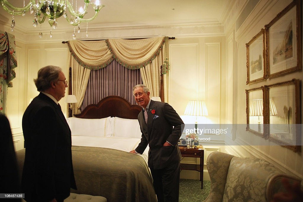Prince Charles, the Prince of Wales checks a bed in one of the new bedrooms during the Savoy Hotels grand re-opening on November 2, 2010 in London, England. The Savoy Hotel, which originally opened in 1889, closed for refurbishment in December 2007. The entire building has been restored by over 1000 craftsmen, and began receiving guests again on October 10, 2010.