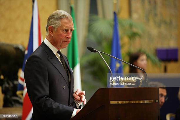 Prince Charles the Prince of Wales delivers his speech at the Italin Chamber of Deputies on April 27 2009 in Rome Italy Prince Charles the Prince of...