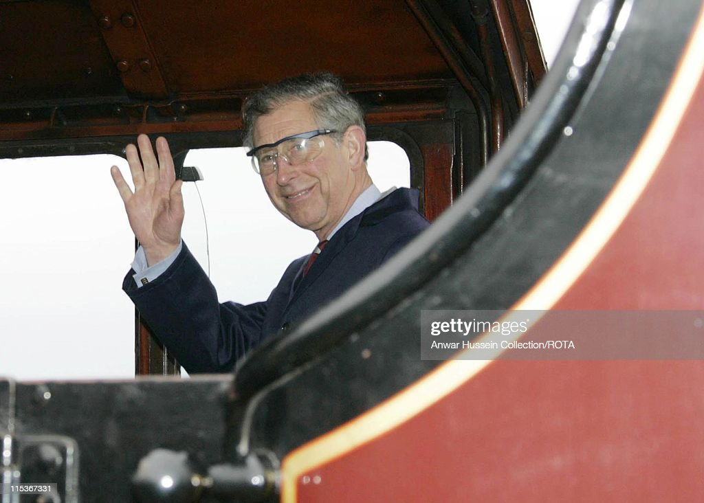 HRH Prince Charles, The Prince of Wales donned workmen's overalls and protective glasses to ride the footplate of the vintage steam locomotive the Duchess of Sutherland on a visit to the Cumbrian railway station of Kirkby Stephens Tuesday March 22, 2005.