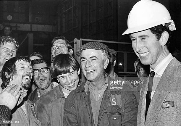 Prince Charles The Prince of Wales during his visit to the North East 27 November 1979 The Prince chats with workers during his visit to the Pallion...