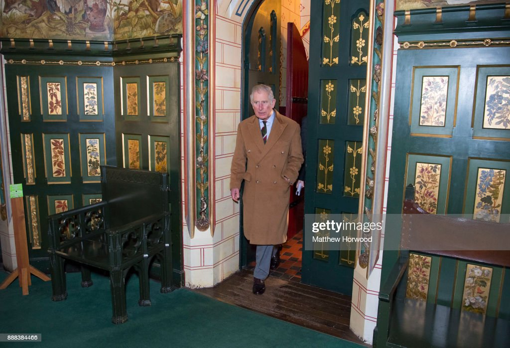 Prince Charles, The Prince of Wales enters the Drawing Room at Castell Coch where he was visiting to learn about the castle's history, refurbishment and programme of community activities on December 8, 2017 in Cardiff, Wales.