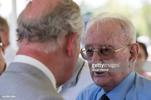 Prince Charles The Prince of Wales greets an Australian War Veteran at Bicentennial Park on April 10 2018 in Darwin Australia The Prince of Wales and...