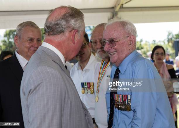 Prince Charles The Prince of Wales greets Australian War Veterans at Bicentennial Park on April 10 2018 in Darwin Australia The Prince of Wales and...