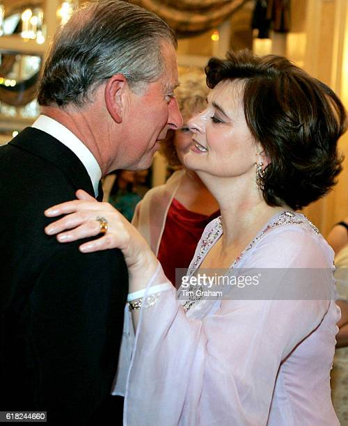 Prince Charles, the Prince of Wales greets Cherie Blair at the London Hilton during the Asian Women of Achievement Awards. The awards celebrate...
