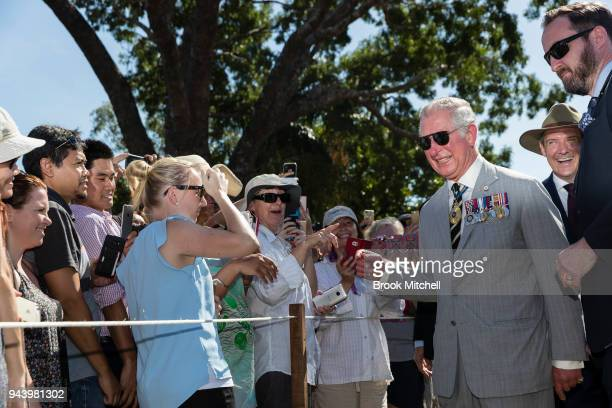 Prince Charles The Prince of Wales greets wellwishers at Bicentennial Park on April 10 2018 in Darwin Australia The Prince of Wales and Duchess of...