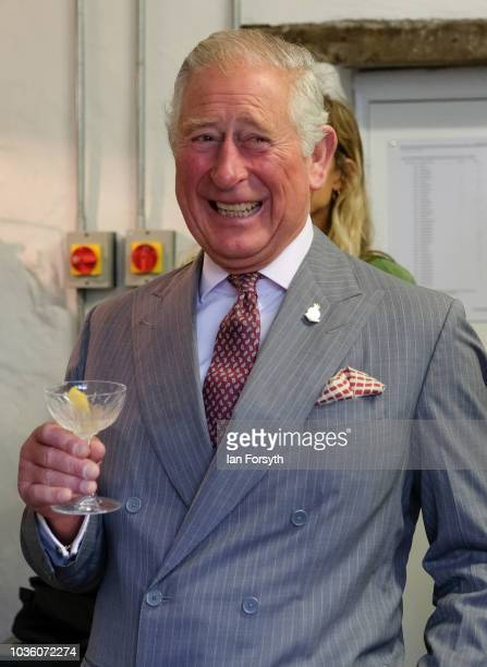 Prince Charles The Prince of Wales has a small taster of Hepple Gin during a visit to the Moorland Spirit Company Ltd's Hepple Gin distillery where...