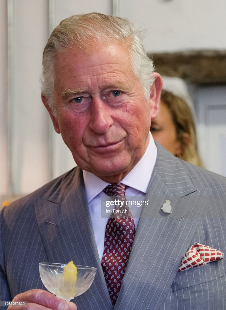 Prince Charles, The Prince of Wales has a small taster of Hepple Gin during a visit to the Moorland Spirit Company Ltd's Hepple Gin distillery where the company are undertaking a sustainable juniper restoration and propagation project on September 13, 2018 in Rothbury, England. The visit comes as The Prince of Wales carried out a number of engagements during a two-day visit to Northumberland including visits to the Sill National Landscape Discovery Centre, the farmer's market in Hexham, a visit to the birthplace of Lancelot Capability Brown at Kirkharle, a Salmon centre and hatchery and Alnwick Gardens.