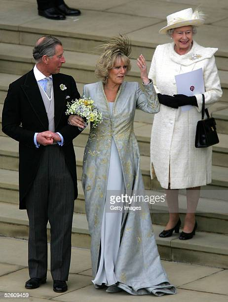 TRH Prince Charles the Prince of Wales his wife Camilla the Duchess Of Cornwall and his mother HM Queen Elizabeth II The Queen leave the Service of...
