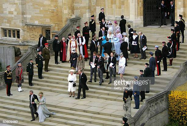 TRH Prince Charles the Prince of Wales his wife Camilla the Duchess of Cornwall and the royal family are seen after the Service of Prayer and...
