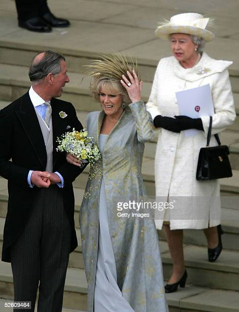 TRH Prince Charles the Prince of Wales his wife Camilla the Duchess Of Cornwall and mother by HM Queen Elizabeth II the Queen leave the Service of...