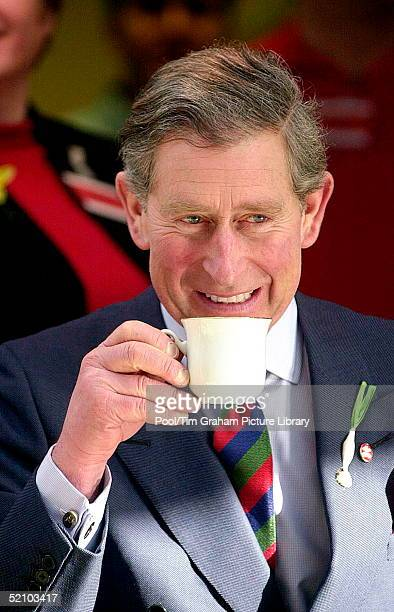Prince Charles The Prince Of Wales In Wales Drinking A Cup Of Tea During A Visit To The Phoenix Centre Townhill Where He Opened The New Prince's...