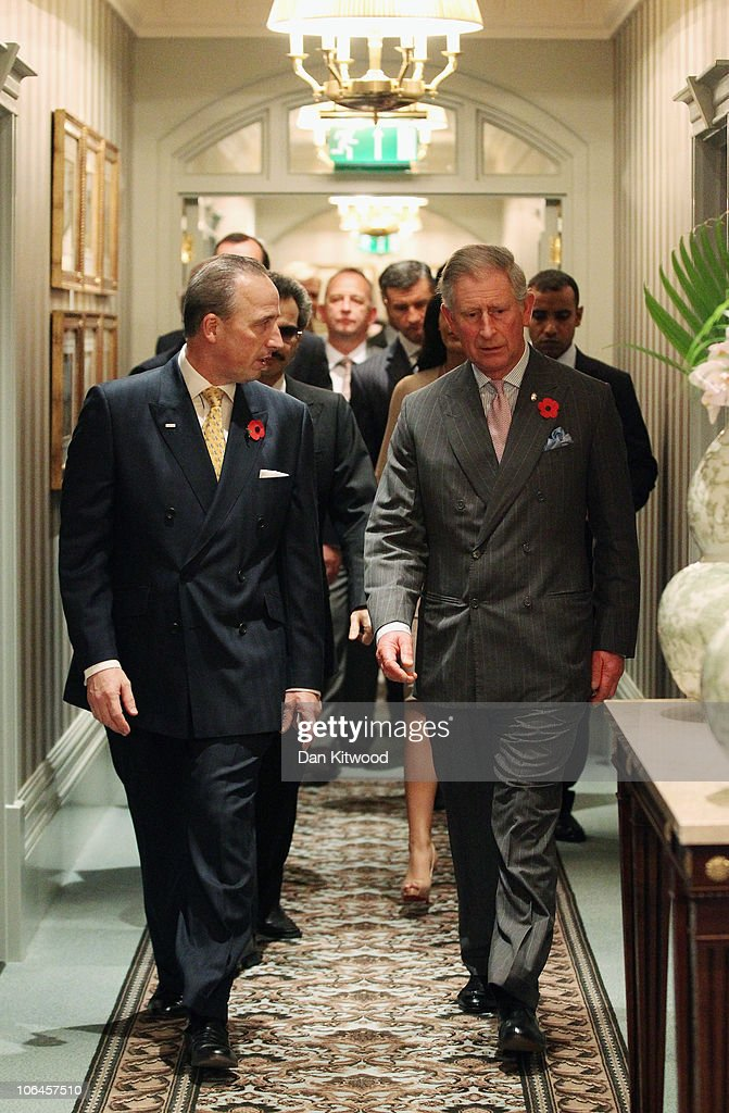 Prince Charles, the Prince of Wales is escorted around the newly re-opened Savoy hotel during it's grand re-opening on November 2, 2010 in London, England. The Savoy Hotel, which originally opened in 1889, closed for refurbishment in December 2007. The entire building has been restored by over 1000 craftsmen, and began receiving guests again on October 10, 2010.