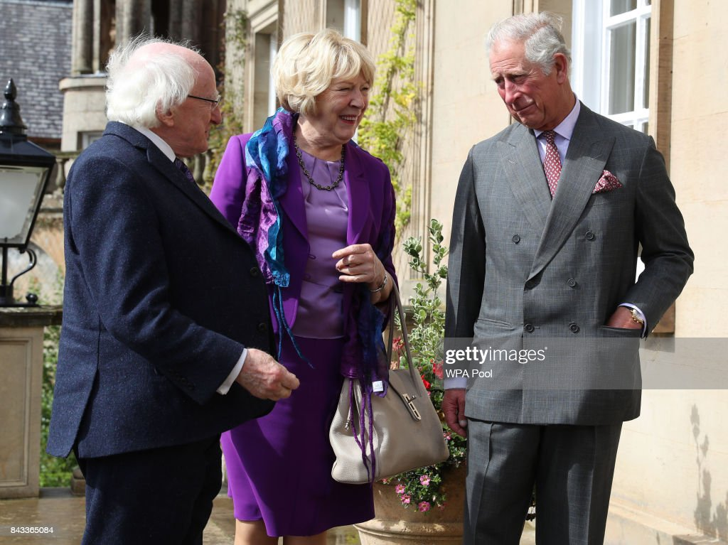 Prince Charles, The Prince of Wales, known as the Duke of Rothesay in Scotland, welcomes President of Ireland Michael D Higgins and his wife Sabina Coyne to Dumfries House on September 6, 2017 in Cumnock, Scotland.