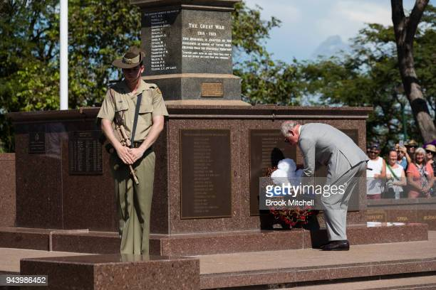 Prince Charles The Prince of Wales lays a wreath at the Cenotaph to commemorate Australian servicemen and women on April 10 2018 at Bicentennial Park...