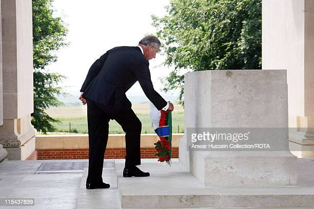 Prince Charles, the Prince of Wales lays a wreath for Battle of the Somme soldiers at the Thiepval Monument Cemetery in France on July 1, 2006.