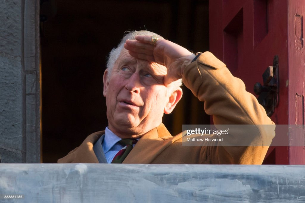 Prince Charles, The Prince of Wales looks on from a balcony at Castell Coch where he was visiting to learn about the castle's history, refurbishment and programme of community activities on December 8, 2017 in Cardiff, Wales.