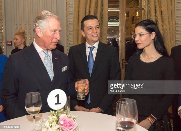 Prince Charles The Prince of Wales meets the Romaian Prime Minister Sorin Grindeanu and European Affairs Minister Ana Birchall while attending a...