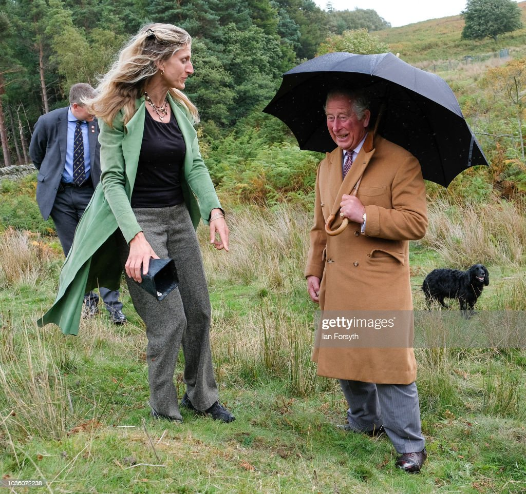 Prince Charles, The Prince of Wales speaks with Lady Riddell as he visits a site of wild Juniper seedlings planted in heather moorland during a visit to the Moorland Spirit Company Ltd's Hepple Gin distillery where the company are undertaking a sustainable juniper restoration and propagation project on September 13, 2018 in Rothbury, England. The visit comes as The Prince of Wales carried out a number of engagements during a two-day visit to Northumberland including visits to the Sill National Landscape Discovery Centre, the farmer's market in Hexham, a visit to the birthplace of Lancelot Capability Brown at Kirkharle, a Salmon centre and hatchery and Alnwick Gardens.