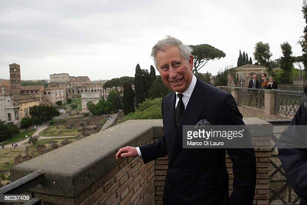 Prince Charles the Prince of Wales takes in the view from the House of Augustus during a visit on April 27 2009 in Rome Italy The Prince of Wales and...
