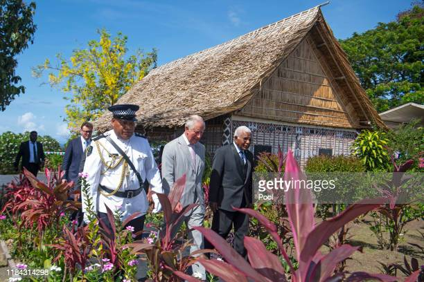 Prince Charles The Prince of Wales talks to officials at Government House on the second day of the royal visit 24th November 24 2019 in Honiara...