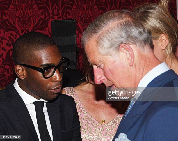 Prince Charles, The Prince of Wales talks with rapper Tinie Tempah during a reception at St James's Palace to launch the London Collections: Men on...