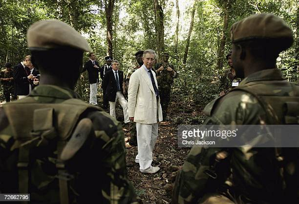 Prince Charles The Prince Of Wales tours the jungle warfare school with IMATT personel at Guam Dam on November 28 2006 near Freetown Sierra Leone...