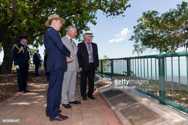 Prince Charles The Prince of Wales tours the War Memorial at Bicentennial Park on April 10 2018 in Darwin Australia The Prince of Wales and Duchess...