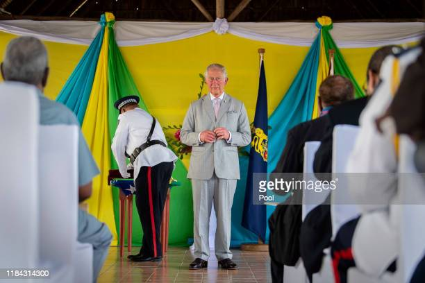 Prince Charles The Prince of Wales undertakes investitures at Government House on the second day of the royal visit 24th November 24 2019 in Honiara...