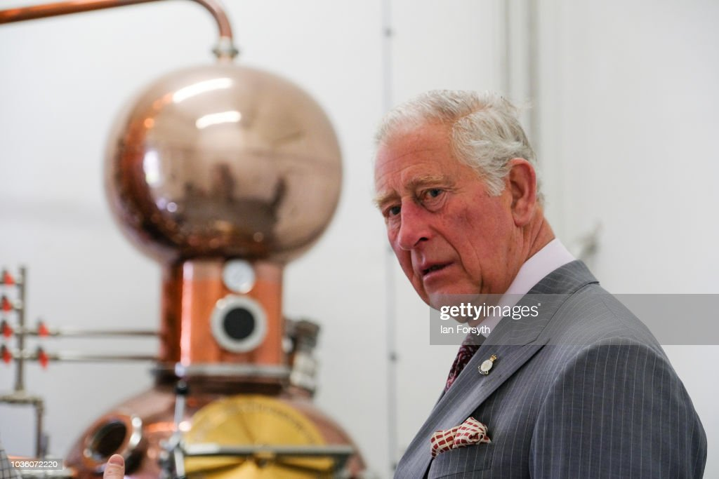 Prince Charles, The Prince of Wales views a Copper pot still and observes the gin distilling process during a visit to the Moorland Spirit Company Ltd's Hepple Gin distillery where the company are undertaking a sustainable juniper restoration and propagation project on September 13, 2018 in Rothbury, England. The visit comes as The Prince of Wales carried out a number of engagements during a two-day visit to Northumberland including visits to the Sill National Landscape Discovery Centre, the farmer's market in Hexham, a visit to the birthplace of Lancelot Capability Brown at Kirkharle, a Salmon centre and hatchery and Alnwick Gardens.