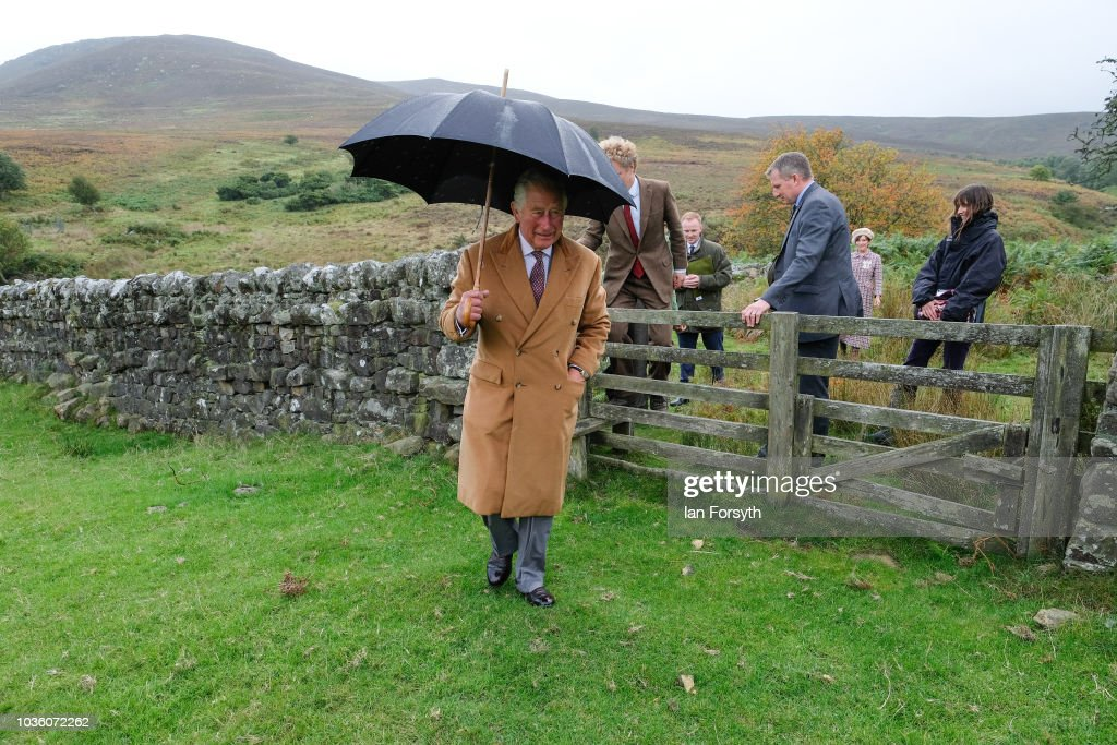 Prince Charles, The Prince of Wales visits a site of wild Juniper seedlings planted in heather moorland during a visit to the Moorland Spirit Company Ltd's Hepple Gin distillery where the company are undertaking a sustainable juniper restoration and propagation project on September 13, 2018 in Rothbury, England. The visit comes as The Prince of Wales carried out a number of engagements during a two-day visit to Northumberland including visits to the Sill National Landscape Discovery Centre, the farmer's market in Hexham, a visit to the birthplace of Lancelot Capability Brown at Kirkharle, a Salmon centre and hatchery and Alnwick Gardens.
