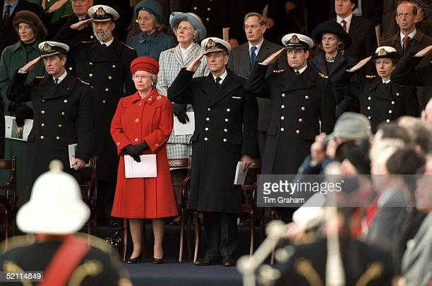 Prince Charles The Queen Prince Philip Prince Andrew Princess Anne At The Decommissioning Ceremony For Hmy Britannia At Portsmouth