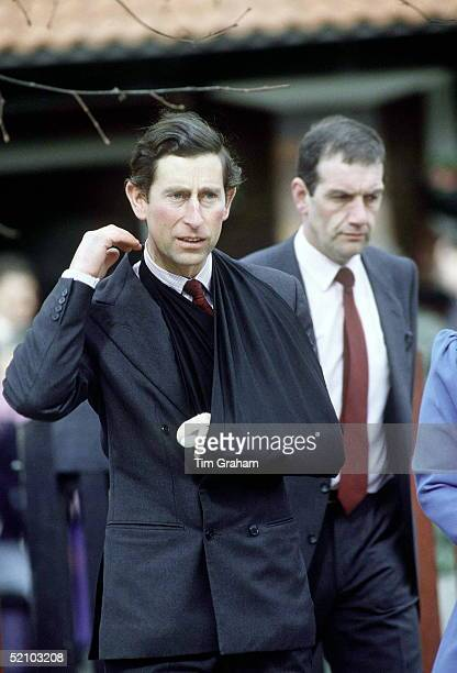 Prince Charles Visiting Lea View House In The East End Of London With His Arm In A Sling Because Of An Injured Bandaged Finger