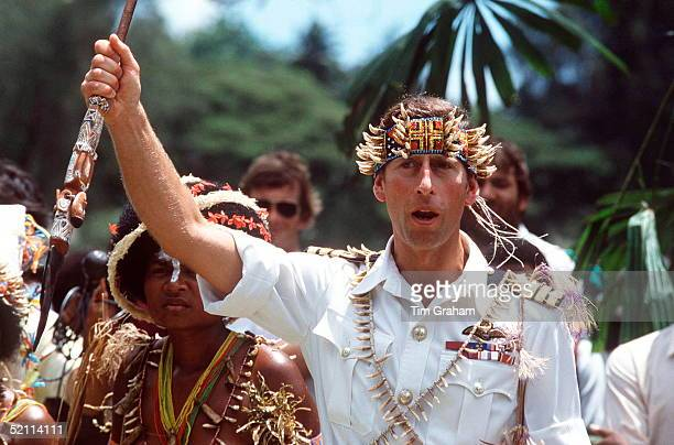 Prince Charles Visiting Papua New Guinea Wearing Traditional Costume