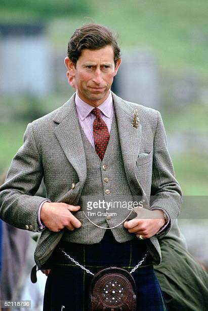 Prince Charles Visiting The Isle Of Barra In The Western Isles Scotland Wearing A Traditional Kilt
