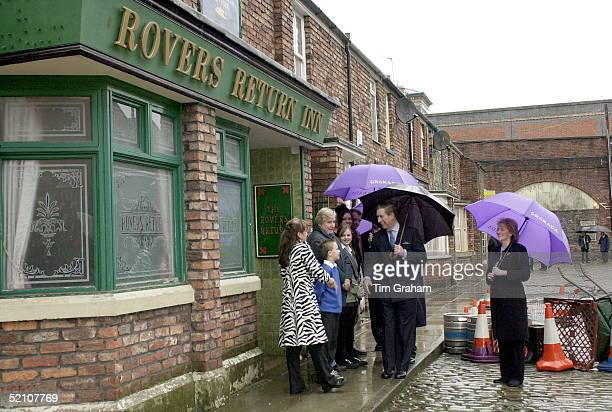 Prince Charles Visiting The Set Of The Television Series 'coronation Street' To Celebrate The Programme's 40th Anniversary Outside The Rovers Return...