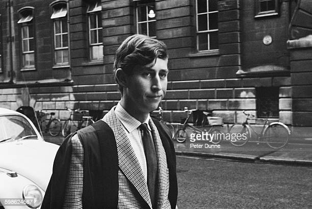 Prince Charles walking in Downing Street, Cambridge, UK, 12th October 1967. He is beginning his term at Trinity College.