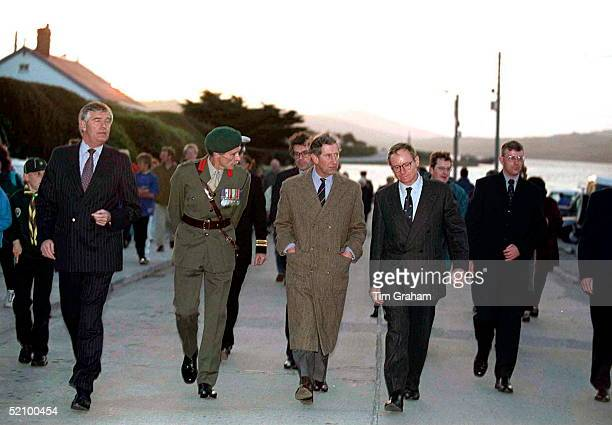 Prince Charles Walking In Port Stanley The Falkland Islands With Colin Trimming His Police Bodyguard At Far Left