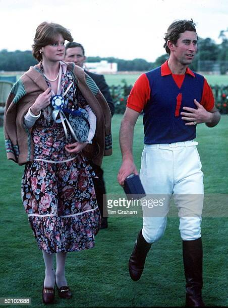 Prince Charles Walking With Friend Lady Sarah Spencer And His Bodyguard, John Maclean, At A Polo Match At Guards Polo Club Smiths Lawn Windsor Great...