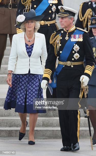 Prince Charles walks with Camilla Duchess of Cornwall after a Falklands War flypast on June 17 2007 in London Commemorations to mark the 25th...