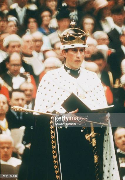 Prince Charles wearing the gold coronet of the Prince of Wales looks on at his investiture as Prince of Wales on July 1 1969 in Caernarvon Wales