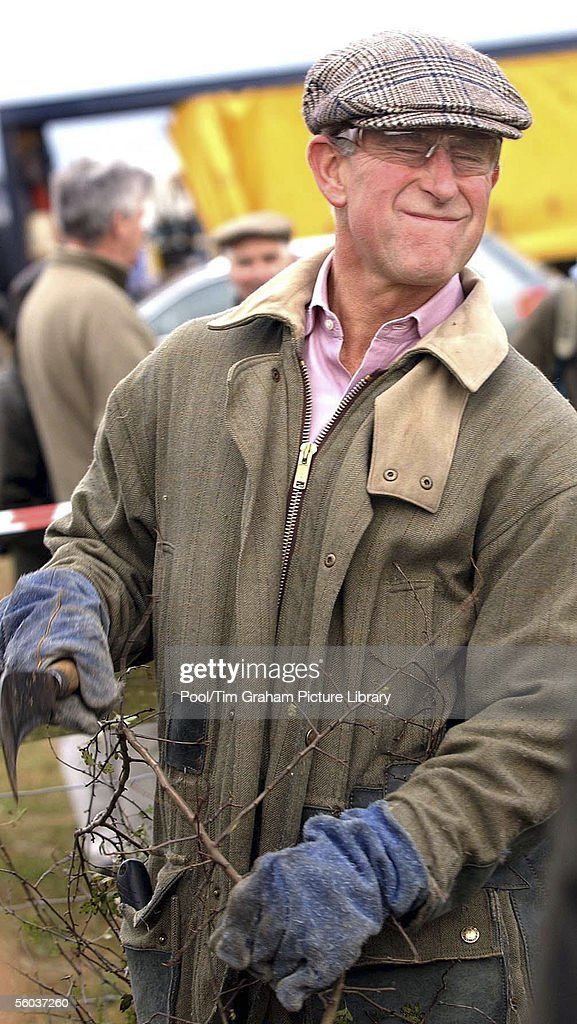 Prince Charles wears casual clothes and goggles for a visit to a hedgelaying competition at his Duchy of Cornwall farm, Home Farm, on October 29, 2005 in Tetbury, England.