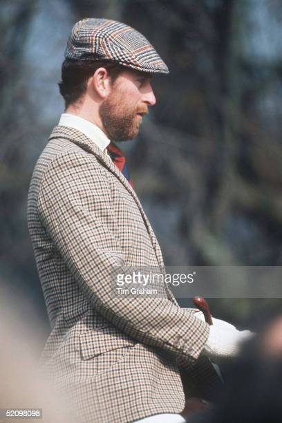Prince Charles With A Beard Riding At Badminton Horse Trials In A Hacking Jacket And Flat Cap Circa 1979
