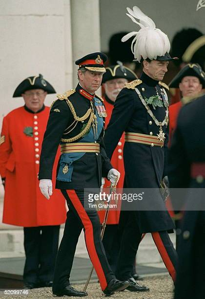 Prince Charles With Chelsea Pensioners At The Founders Day Parade At The Royal Hospital, Chelsea, London.