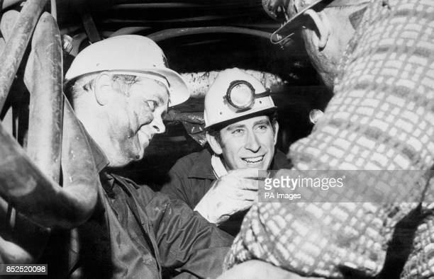 Prince Charles with colliery manager Alan Reed during a visit to St John's Colliery in Maesteg Bridgend Wales