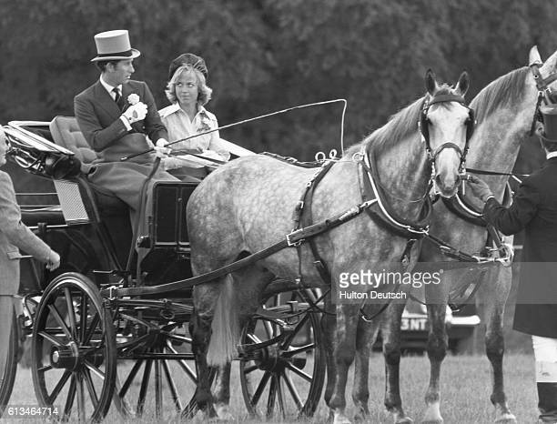 Prince Charles with Davina Sheffield in a carriage at Windsor
