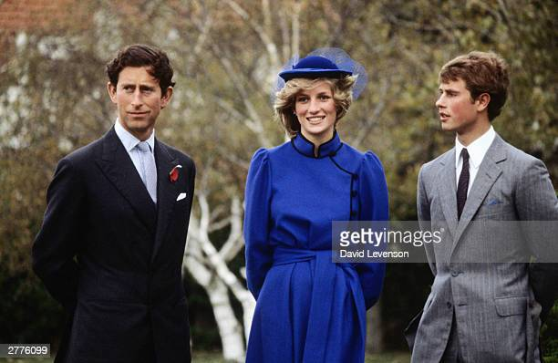 Prince Charles with Diana Princess of Wales and Prince Edward at a photocall at Wanganui Collegiate in New Zealand where Prince Edward had been a...
