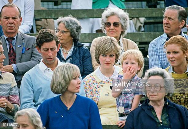 Prince Charles With Diana Spencer And Sarah Ferguson Watching Polo At Cowdray Park