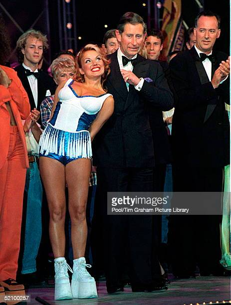 Prince Charles With Geri Halliwell And Actor And Comedian Michael Barrymore At The Manchester Opera House For A Royal Gala Performance To Celebrate...